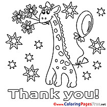 Giraffe Stars Thank You free Coloring Pages