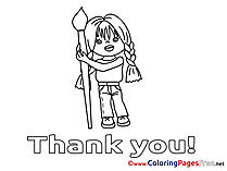 Girl Coloring Pages Thank You for free