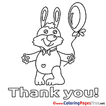 Hare Balloon printable Thank You Coloring Sheets