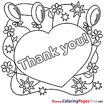 Heart Balloons for Kids Thank You Colouring Page
