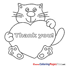 Heart Cat Thank You Colouring Sheet free