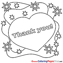 Heart printable Coloring Pages Thank You