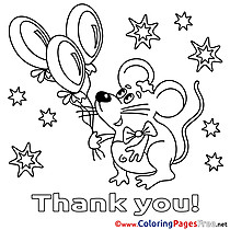 Mouse Balloons free Thank You Coloring Sheets