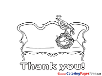 Nest Bird Thank You Coloring Pages free
