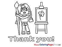 Painter printable Thank You Coloring Sheets