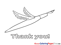 Pen Wings printable Thank You Coloring Sheets