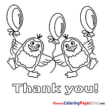 Penguins Balloons Coloring Sheets Thank You free