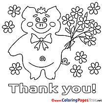 Pig Colouring Page Thank You free