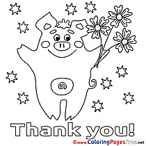 Pig Thank You Coloring Pages download
