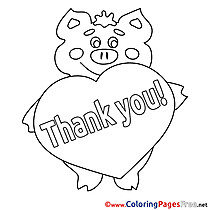 Piggy Heart Kids Thank You Coloring Page