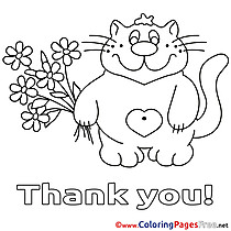 Pussycat Flowers Coloring Sheets Thank You free