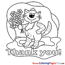 Pussycat free Colouring Page Thank You