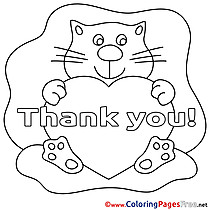 Pussycat Thank You Heart Colouring Sheet free