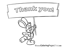 Rabbit Kids Thank You Coloring Pages