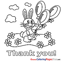 Rabbit Thank You free Balloons Coloring Pages