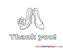 Shoes free Colouring Page Thank You