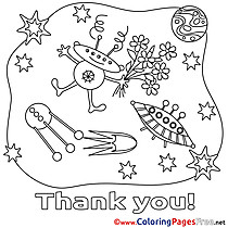 Space Stars Flowers Colouring Sheet Thank You