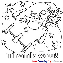 Spaceship Alien printable Coloring Pages Thank You