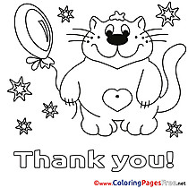 Stars Cat Balloon Children Thank You Colouring Page