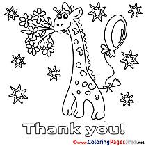Stars Giraffe for Kids Thank You Colouring Page