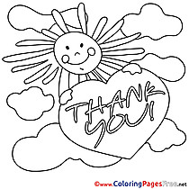 Sun Clouds free Colouring Page Thank You