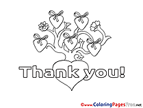 Tree Hearts Kids Thank You Coloring Page