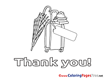 Umbrella Hat for Kids Thank You Colouring Page