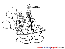 Balloons Boat Sea free Colouring Page download