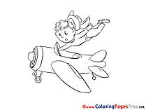 Pilot Plane Children Coloring Pages free