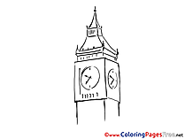 Big Ben Travelling Coloring Sheets download free