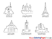 Cities Children Coloring Pages free
