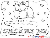 Columbus Day Children Sea Ship download Colouring Page
