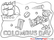 Columbus Day Ship download Colouring Sheet free