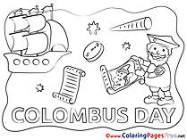 Columbus Day Ship download Colouring Sheet free
