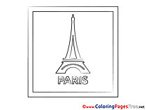 Eiffel Tower Colouring Page printable free