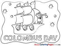Night Ship Columbus Day for Children free Coloring Pages