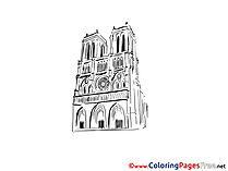 Notre Dame Paris Children download Colouring Page