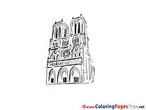Notre Dame Paris Children download Colouring Page
