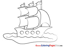Ship Travelling Coloring Sheets download free