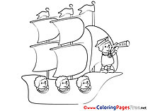 Ship Travelling Kids free Coloring Page