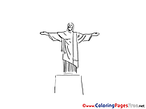 Statue of Christ Colouring Sheet download free