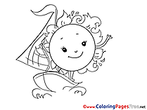 Sun Boat for Children free Coloring Pages