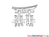 Torii free Travelling Colouring Page download