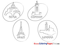 Travelling Cities Coloring Pages for free
