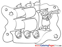 Travelling Ship free printable Coloring Sheets