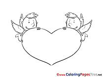 Amurs Heart Kids Valentine's Day Coloring Page