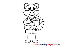 Animal Bear Heart Colouring Sheet download Valentine's Day