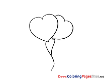Balloons Colouring Sheet download Valentine's Day