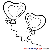 Balloons download Valentine's Day Coloring Pages