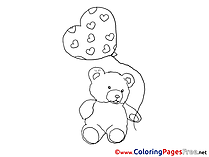 Bear Balloon printable Coloring Pages Valentine's Day